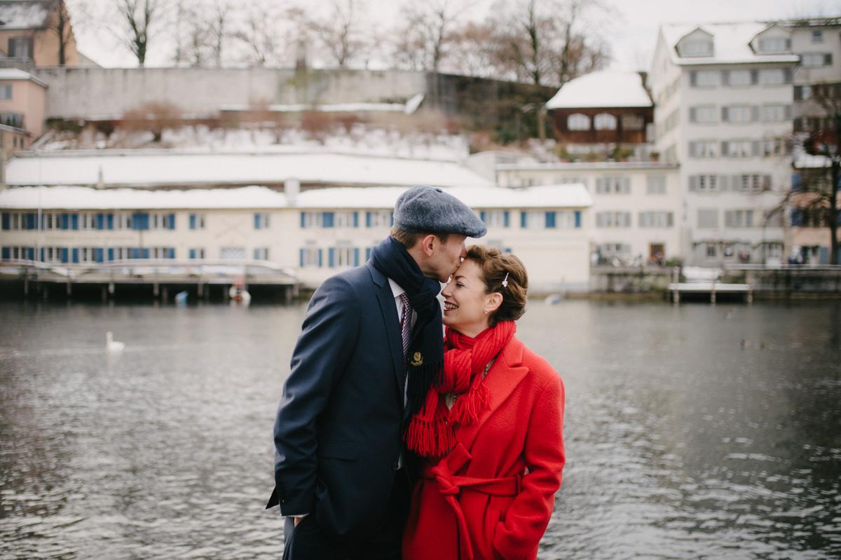 Hochzeit Zürich Winter Limmat