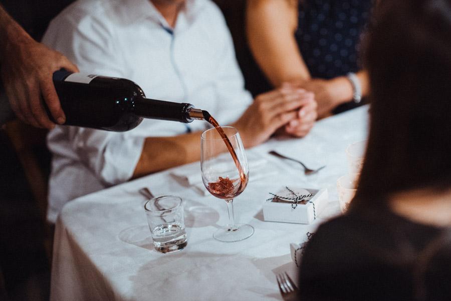 Wein bei Hochzeitsdinner