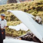 Hochzeit Fahrt mit Oldtimer Panne